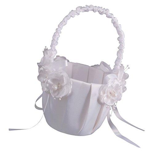 MagiDeal Elegante Satén Cesto de Flores Accesorio para Dama de Novia Ceremonia de Boda Corazón Floral de Raso Vidrio