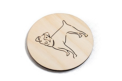 Jack Russell Terrier Coaster - Unfinished Jack Russell Terrier Coasters - Set of 4 Handmade Engraved 3.5