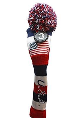 Majek U.S.A Hybrid Golf Pom Pom Knit Rescue Utility Club Head Cover