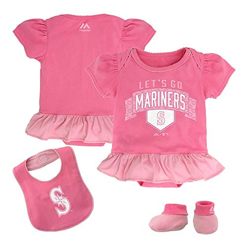 Outerstuff Seattle Mariners MLB Majestic Newborn Fanatic Frill Creeper Bib & Bootie Set ()