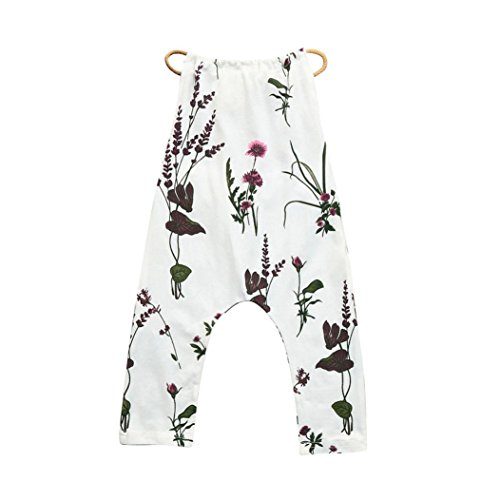 Franterd Baby Girls Straps Rompers, Kid White Flower Print Jumpsuits Sleeveless Pants Cotton Clothing (2T, ()