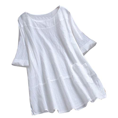 DEATU Womens Linen Ladies Buttons Asymmetrical Loose with Pockets Tunic Tops Short Sleeve T Shirt Blouse (XXXL, White F1)