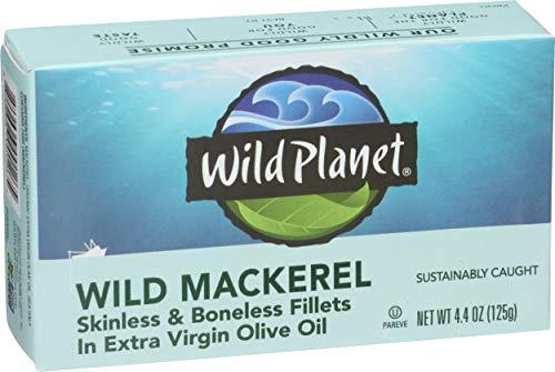 Wild Planet Wild Mackerel Fillets in Organic Extra Virgin Olive Oil, Skinless & Boneless, FAD-Free, 4.4 Ounce (Pack of 12)