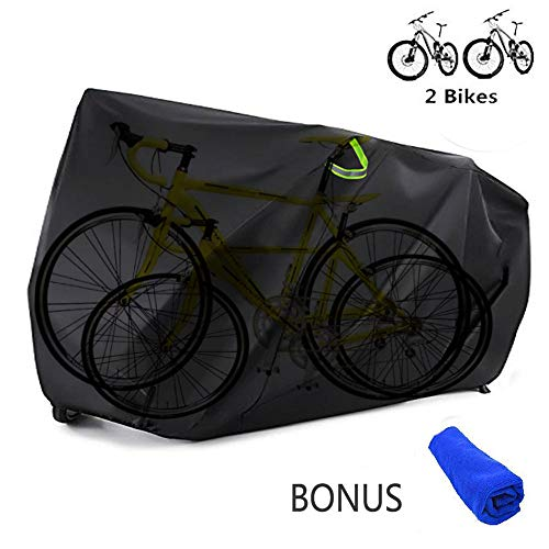Bicycle Bike Cover Waterproof Outdoor for 2 Bikes Heavy Duty 210D Oxford XXL Wheel Rain Cover with Resist Strong Winds Easy Fold Carry Around Cycling Covers for Mountain/Road/Electric Bike (Type B)