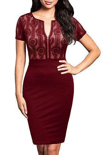 REPHYLLIS Women's 2/3 Sleeve Zip Busniess Bodycon Pencil Dress s (Zip Sleeve Dress)