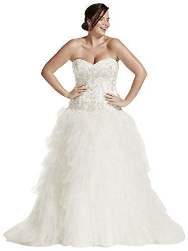 Tulle Plus Size Wedding Dress with Ruffled Skirt Style 9V3665 – 16 Plus, Ivory
