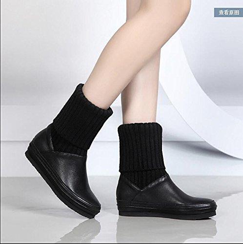 Botas Plana El El Algodón Botas Otoño Con Invierno Mujeres Zapatos Y De Las Y Base Black Botas Para Cultivar KHSKX Invierno Una pZ0Bdx0