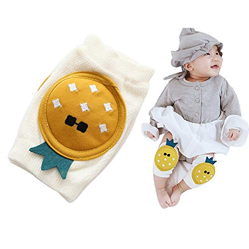 Angzhili 1 Pair Baby Knee Pad for Crawling,Elastic Anti-Slip Safety Baby Knee Protectors for Unisex Baby,Toddlers Kneepads Baby Knee Covers,Suitable for 0-36 Months (Yellow)