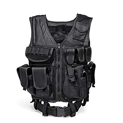 Fly Adjustable Hunting Military Molle Style Tactical Vest Ultra-Light Breathable Combat Military Paintball Tactical VES with 10 Pouches