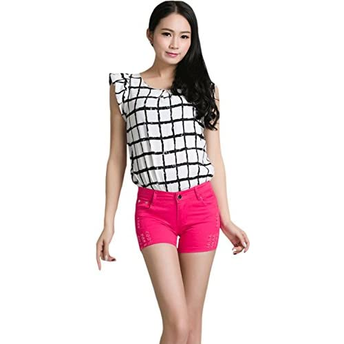 448d70c1f5 Zumeet Women s Summer Female Candy Colored Shorts Red free shipping ...