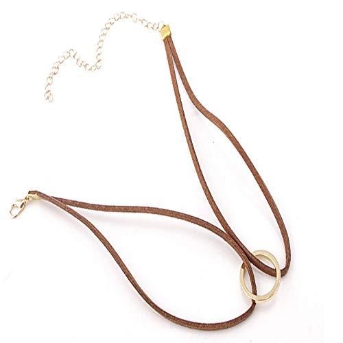 - TenDollar Women Clavicle Bib Circle Popular in Street Fashion Necklace Wool Short Metal (Brown)