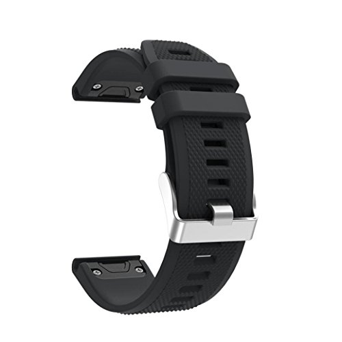 Price comparison product image Longay wristband Replacement Silicagel Quick Install Band Strap For Garmin Fenix 5 GPS Watch (Black)