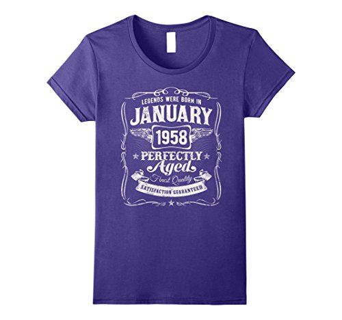 Womens Legends Were Born In January 1958 Shirt 60th Birthday Gift Large Purple