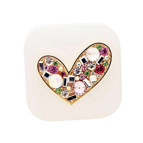 Colored Contact Lenses Cheap (Colorful Diamond Heart Contact Lens Case Personal Eye Care Glasses Holder-White)