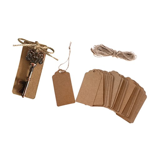 MagiDeal 100 Sets Kraft Paper Tags Hanging Labels Bottle Opener Wedding Party Gift by Unknown
