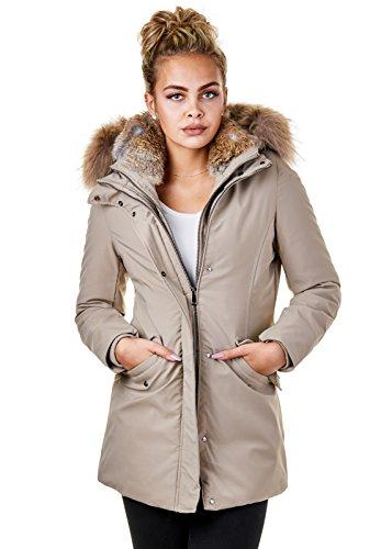 33b8c6e964dd EightyFive Damen Winter-Jacke Echt-Fell-Kapuze Schwarz Pink Khaki Beige  EF1837 Beige