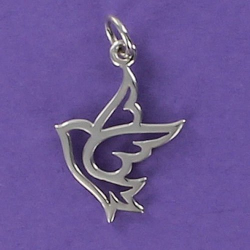 (Dove Outline Charm Sterling Silver 925 for Bracelet Bird Peace Small White Jewelry Making Supply, Pendant, Charms, Bracelet, DIY Crafting by Wholesale)