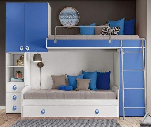 Klipick - Dormitorio Mod. Arco. Somier, sofá Cama con somier Superior y somier de Malla metálica extraíble, Panel Cama Superior.