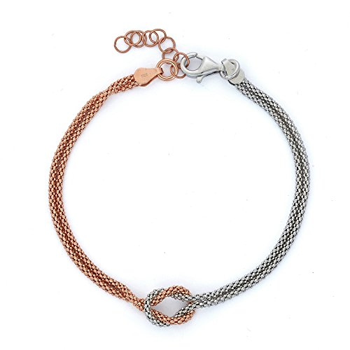 (14K Gold, Rose Gold, or Rhodium Plated Silver Two Tone Love Knot Chain Bracelet)