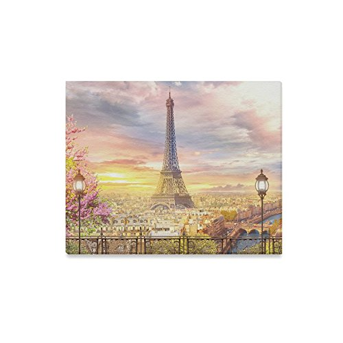 (InterestPrint Beautiful European Cityscape of Paris Eiffel Tower Canvas Prints Wall Art Stretched and Framed Abstract Artwork for Home Office Decoration, 20 x 16 Inches)