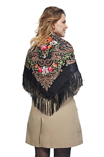 Ladies Floral Shawl With Tassels Ukrainian Polish Russian Head Scarf 43'' x 43'' (black) by Nothing But Love (Image #6)