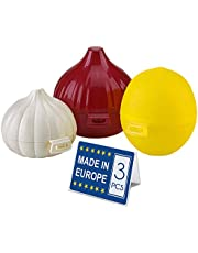 Crystalia Lemon, Garlic and Onion Fresh Storage Containers, Vegetable Saver Set