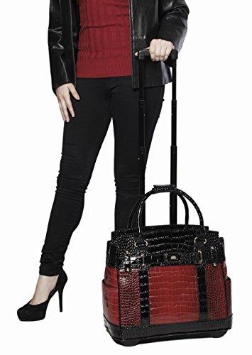 Baton-Rouge-Burgundy-Black-Alligator-Computer-iPad-Laptop-Tablet-Rolling-Tote-Bag-Briefcase-Carryall-Bag