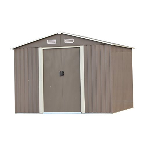 Wonlink 8 by 8-Feet Heavy Duty Outdoor Steel Garden Storage Utility Shed Backyard Lawn Building Garage Gray