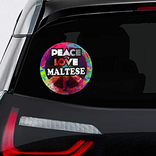 - Makoroni - Peace Love Maltese Dog Dogs Car Laptop Wall Sticker Decal - 4.5'by4.5'(Small) or 7'by7'(Large)