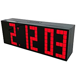 CHKOSDA Digital Snooze Alarm Clock with Large LED Display Board, Remote Control, Red