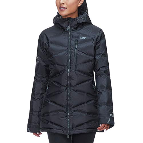 Outdoor Research Women's Floodlight Down Parka, Black/Charcoal, Medium (Black Down Parka)
