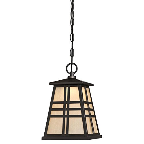 Westinghouse Lighting 6339800 Creekview One-Light LED Outdoor Pendant with Amber Frosted Seeded Glass, Oil Rubbed Bronze Finish