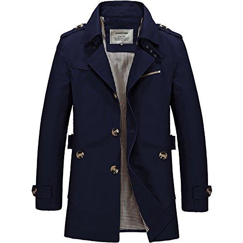 DAVID.ANN Men's Windbreaker Notch Lapel Single Breasted Coat,Dark Blue,Large (Blue Men Coat Dress)