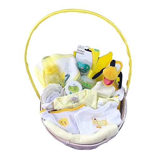Newborn Boy Or Girls Easter Gift Basket With Original Disney Plush Character | Best Gift Basket for Newborn / Unisex Children, (18 Pcs) | Newborn Baby Gift Basket (0-6 Months)