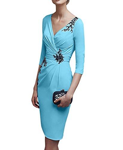 Etuikleider V Kurz Knielang Partykleider ausschnitt Charmant Damen Brautmutterkleider Abendkleider Blau Flieder aSn8Z