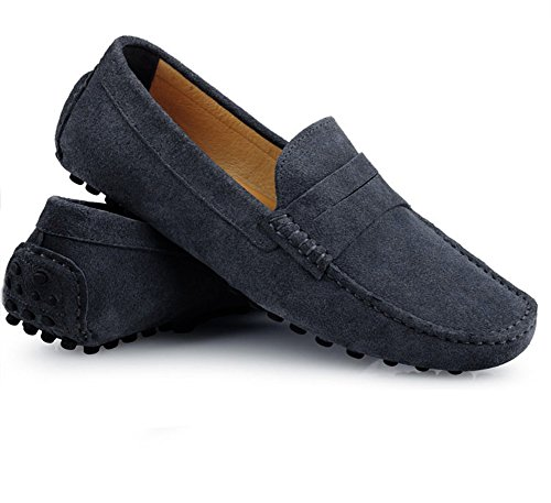 Santimon Mens Casual Comfort Genuine Nubuck Leather Running Outdoor Low Boat Shoes Moccasin Loafers Grey q9Cbo