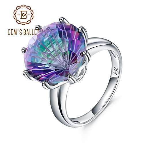Classic Natural Rainbow Mystic Quartz Ring | 925 Sterling Silver Rings for Women | Wedding Engagement Rings | Fine Jewelry