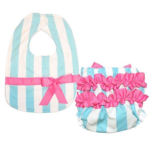 Stripes Ribbon Burp Cloths (Caught Ya Lookin' Bib and Bloomer Set, Blue and White Stripe with Hot Pink Ribbon)