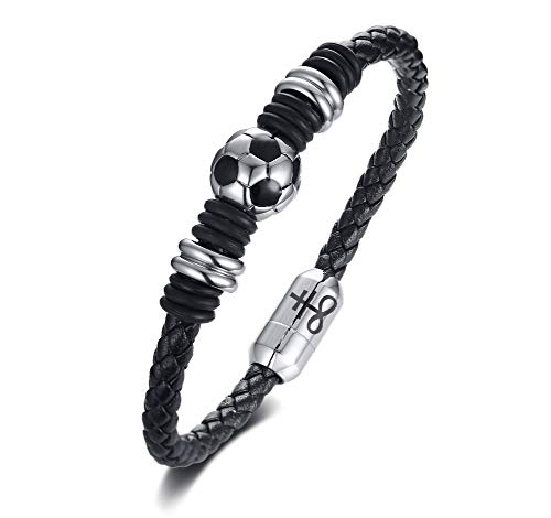 MPRAINBOW Stainless Steel Church of Satan Satanic Cross Braided Soccer Football Leather Bracelets for Men Women by MPRAINBOW