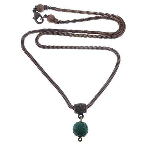 SatinCrystals Malachite Necklace Boutique Carved Genuine Green Gemstone Emerald Isle Antique Copper Snake Chain B04 (30