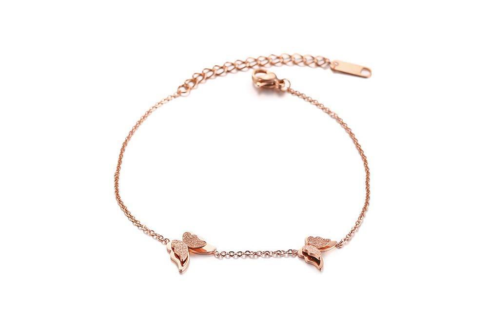 VNOX Women's Girl's 18K Rose Gold Plated Stainless Steel Butterfly Matte Finish Adjustable Bracelet,7.0''-9.0''
