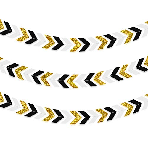 NICROLANDEE 3pcs Black and Gold Party Decorations Paper Arrow Banner Garland Glitter Chevron Design Tribal Party Wall Window Streamer for 30th 40th 50th 60th Birthday Graduation - Party Birthday Chevron Supplies