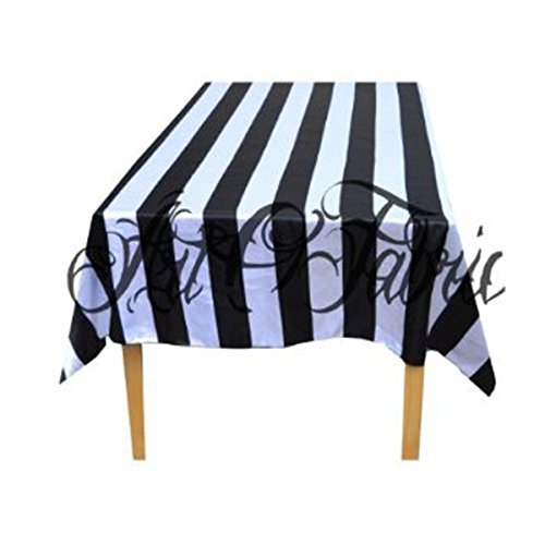 e Cotton Table Overlay in Black and White Stripped 58x58 Inch ()