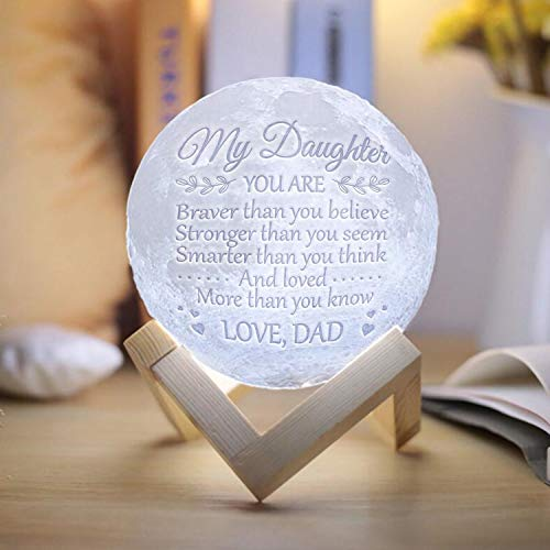 Engraved Moon Lamp Night Light - Brave & Smart Moon Light with Touch Control Brightness - from Mom/Dad to Daughter (B - from Dad) by DOPTIKA (Image #2)