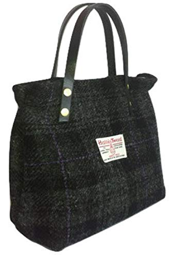 Harris Tweed Ladies Runner Bag - FREE STANDARD SHIPPING - Black House Plaid Design Hand Made in Scotland