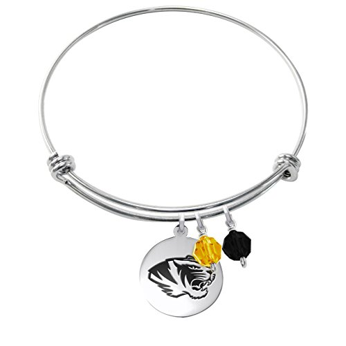 College Jewelry Missouri Tigers Stainless Steel Adjustable Bangle Bracelet with Round Charm & Crystal Accents