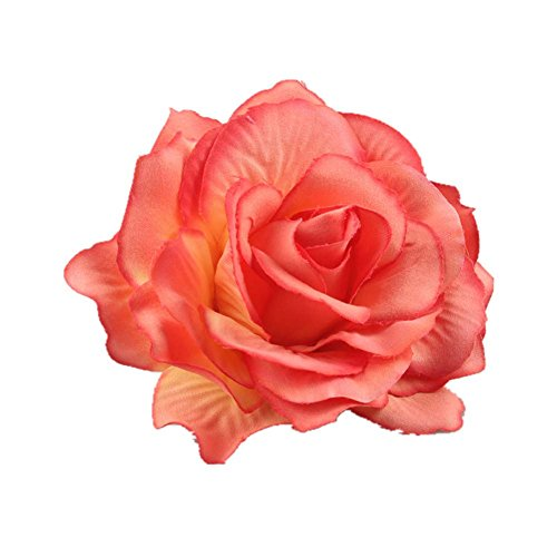 Lovefairy Beautiful Rose Flower Hair Clip Pin up Flower Brooch For Party Travel Festivals (Orange Red) ()
