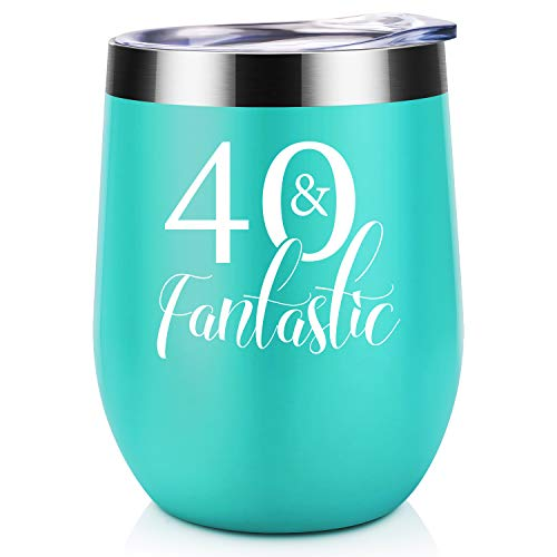 40th Birthday Gifts For Women | 40 and Fantastic | Coolife 12 oz Stainless Steel Novelty Wine Tumbler Insulated Stemless Funny Sippy Cup with Lid and Straw | Turning 40 Birthday Gift For Women
