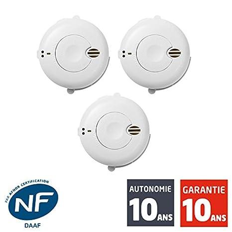 Juego de 3 detectores de humo certificación NF, SIEMENS SIDOREX SA7L-autonomía de 10 años de garantía 10 años.: Amazon.es: Bricolaje y herramientas
