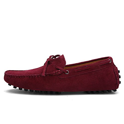 Driving for 40 Color Shoes Leather Penny Loafers Men Loafers Genuine Boat Shoes Size Wine Moccasins Sole EU Rubber Ruiyue TxE7wRC